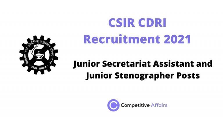 CSIR CDRI Recruitment 2021