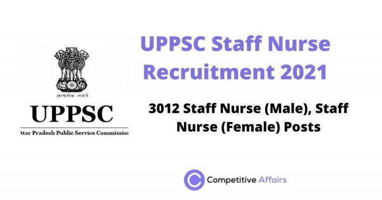 UPPSC Staff Nurse Recruitment 2021
