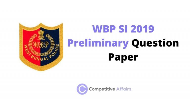 WBP SI 2019 Preliminary Question Paper