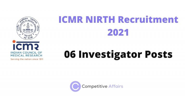 ICMR NIRTH Recruitment 2021