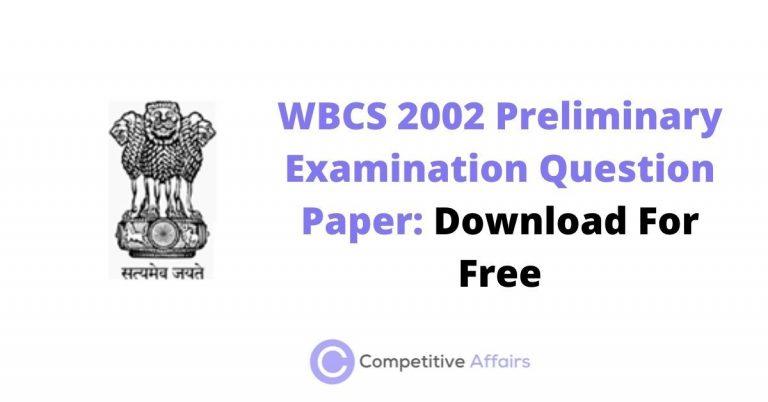 WBCS 2002 Preliminary Examination Question Paper