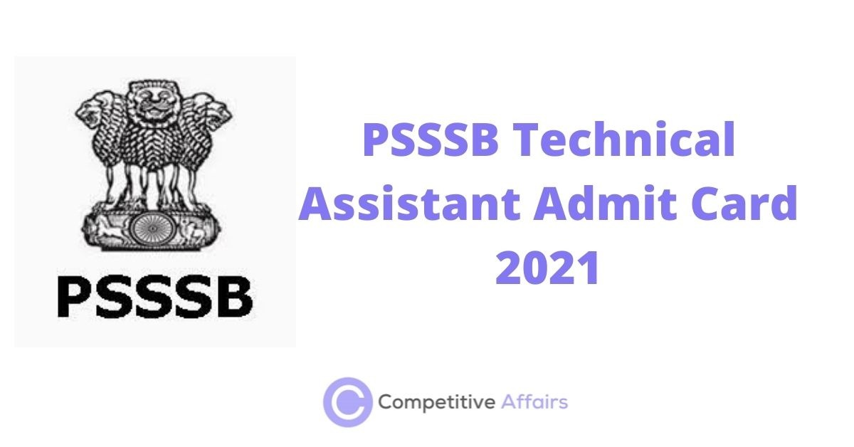 PSSSB Technical Assistant Admit Card 2021
