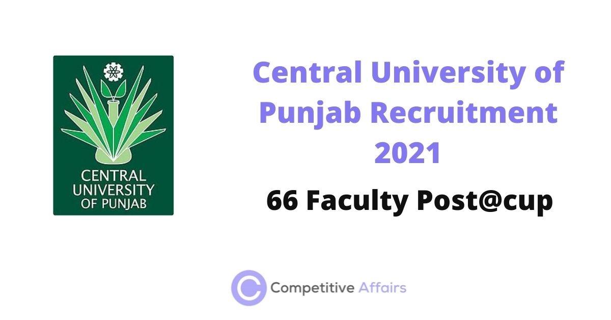 Central University of Punjab Recruitment 2021